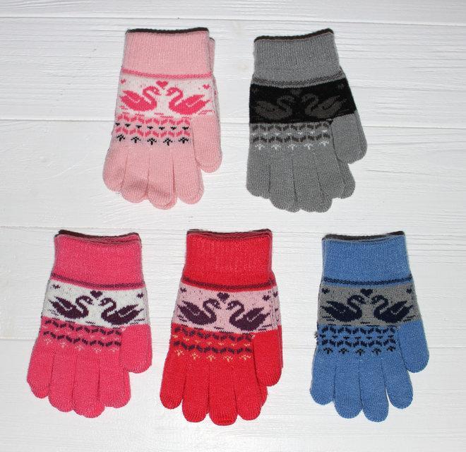 """Детские теплые красивые вязанные перчатки рукавички с узором """"лебеди"""""""