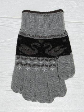 """Детские теплые красивые вязанные перчатки рукавички с узором """"лебеди"""", фото 2"""