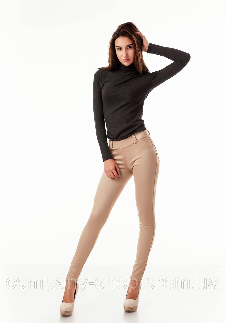 Леггинсы-брюки замшевые с карманами бежевые. Модель L045_бежевый., фото 1