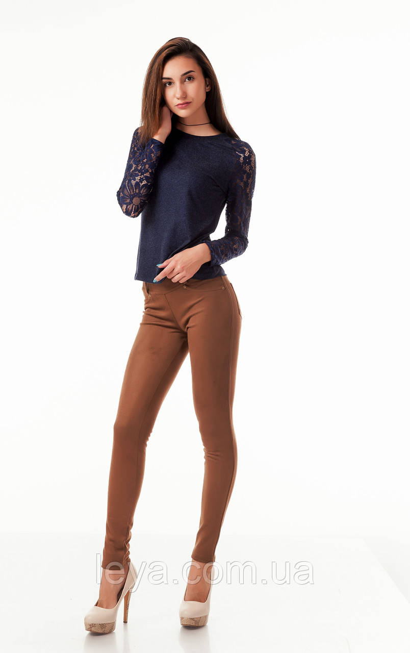 Леггинсы-брюки замшевые с карманами коричневые. Модель L045_коричневый.