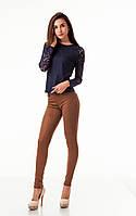 Леггинсы-брюки замшевые с карманами коричневые. Модель L045_коричневый., фото 1