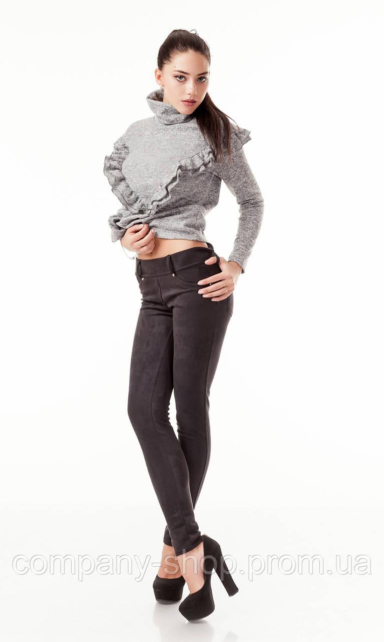 Леггинсы-брюки замшевые с карманами черные. Модель L045_черный., фото 1