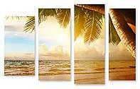 Модульная картина океан и пальма 3д