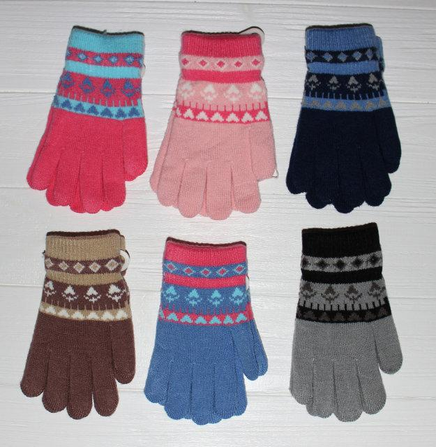 Детские теплые красивые вязанные перчатки рукавички с интересным принтом