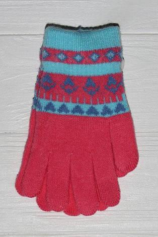 Детские теплые красивые вязанные перчатки рукавички с интересным принтом, фото 2