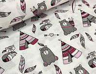 Хлопковая ткань мишки с вигвамами серо-малиновые