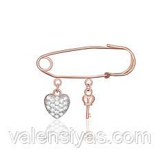 Серебряная булавка Ключ от сердца Бр3Ф/014