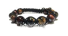 Кожаный браслет из натуральных камней Тигровый Соколиный Бычий глаз shamballa