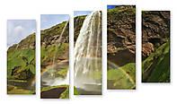Модульная картина 3Д высокий водопад