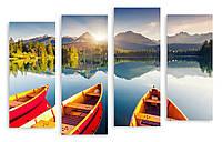 Модульная картина три лодки в озере