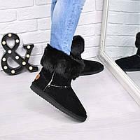 Угги женские Кролик черные с черным 3795, зимняя обувь