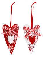"""Ёлочное украшение--подвеска """"Сердечки"""" 10 см, 2 вида"""