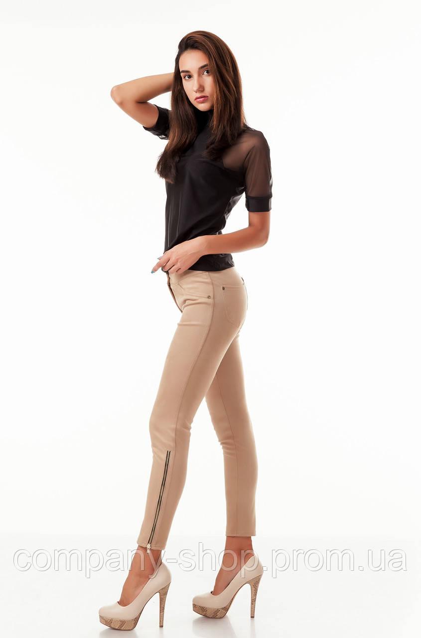 Леггинсы-брюки замшевые с молниями по бокам. Модель L082_бежевый.