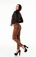 Леггинсы-брюки замшевые с молниями по бокам. Модель L082_коричневый., фото 1