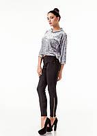 Леггинсы-брюки замшевые с молниями по бокам. Модель L082_черный., фото 1