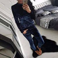 Спортивный костюм женский с карманами из мраморного велюра 42 44 46 48 50 Р, фото 1