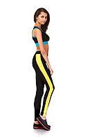 Леггинсы лосины для фитнеса опт. Модель L068_черный с желтым., фото 1