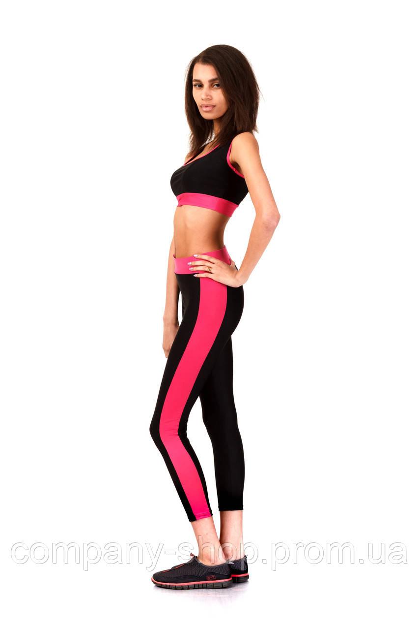 Лосины для фитнеса розовые опт. Модель L067_черный с малиновым.