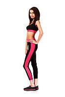 Лосины для фитнеса розовые опт. Модель L067_черный с малиновым., фото 1