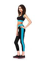 Лосины для фитнеса опт. Модель L067_черный с голубым., фото 1