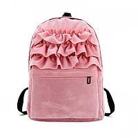 Рюкзак женский городской бархатный с рюшами (розовый), фото 1