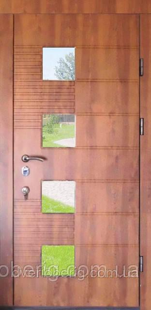 Дверь входная со стеклом золотой дуб 501