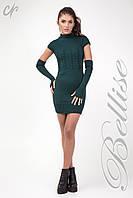 Теплое вязаное платье со съемными рукавами