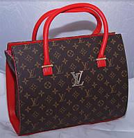 Женская каркасная коричневая сумка c красными вставками LOUIS VUITTON, Луи Виттон
