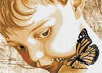 Схема для вышивания бисером Мальчик с бабочкой БИС3-79 (А3) Габардин