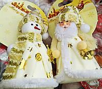 Новогодняя Мягкая Игрушка на Елку Снеговик Дед Мороз 12 см для Атмосферы Нового Года Рождества