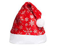 Новогодняя Шапка Деда Мороза Колпак Санта Клауса Santa Claus Снежинка Утепленная Упаковка 12 шт
