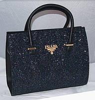 Черная каркасная женская сумка с синими блестками Prada, Прада