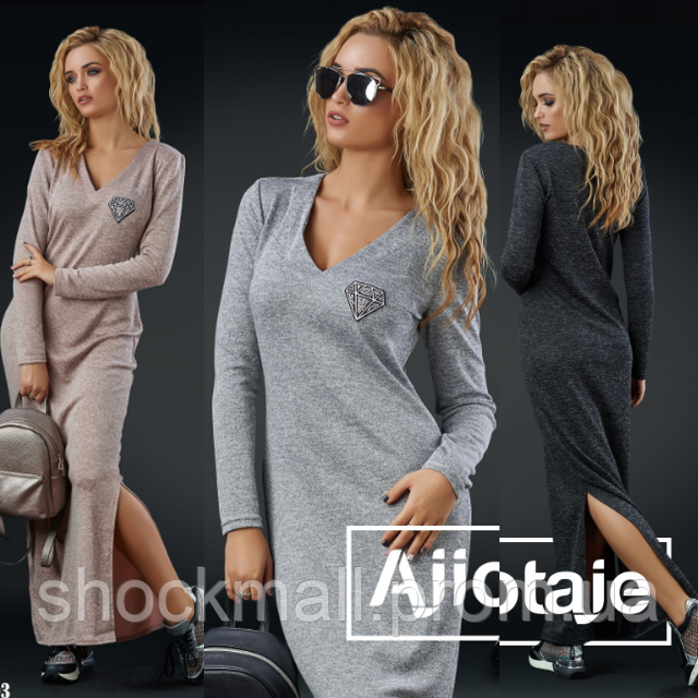 Теплое платье длинное с разрезом - Интернет магазин ShockMall в Киеве 65b652eec7c