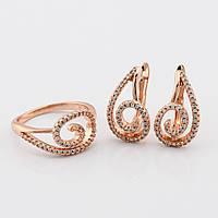 Набор 54170 кольцо размер 17 + серьги 18*10 мм, белые камни, позолота РО