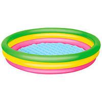 BW Бассейн 51103 (6шт) детский,круглый,надувн дно,3 кольца,рем зап,211л,152-30см,в кульке,33-28см