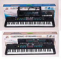 Детский синтезатор с микрофоном 022-23, 2 вида: запись + 16 тонов + FM (USB вход, сеть)