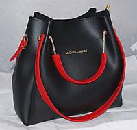 Черная женская сумка-шоппер Michael Kors (Майкл Корс) с отстёгивающимся кошельком и красными ручками