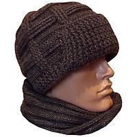 Мужская вязаная шапка с козырьком (утепленный вариант), объемной ручной вязки