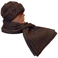 Мужская вязаная шапка с козырьком (утепленный вариант), объемной ручной вязки, и шарф