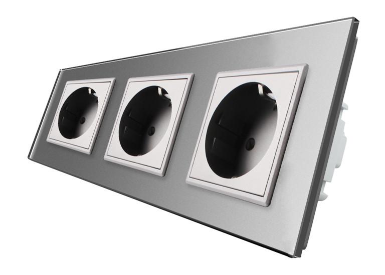 Розетка Livolo Glass Gray тройная с заземлением
