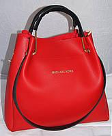 Красная женская сумка-шоппер Michael Kors (Майкл Корс) с отстёгивающимся кошельком и черными ручками