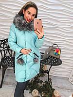 Женское зимнее теплое бирюзовое  пальто.