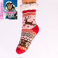 Тёплые детские домашние носки с тормозами Золото HD6008-3 28-31
