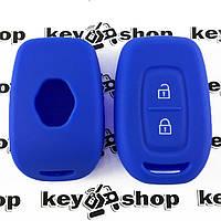 Чехол (синий, силиконовый) для авто ключа RENAULT (Рено) 2 кнопки