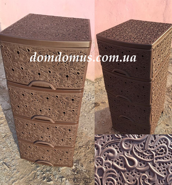 Комод пластиковый ажурный Efe Plastics, Украина D33, коричневый