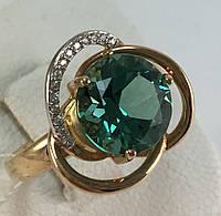 Кольцо с зеленым кварцем золотое 585 проба