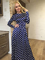 Женское cтильное платье в пол в горошек