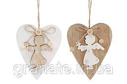 """Новогоднее украшение-подвеска """"Сердце с ангелом"""",  дерево  12 см, 2 вида 24 шт."""