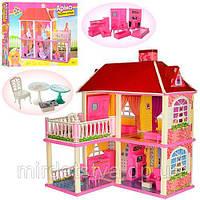 Домик 83,5*70*25,5см, 2в1, 2 этажа, 5 комнат, мебель, для куклы 16см, в кор.63*48*9,5см (6шт) арт. 6980