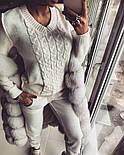 Женский модный теплый вязаный костюм: свитер и штаны (4 цвета), фото 9